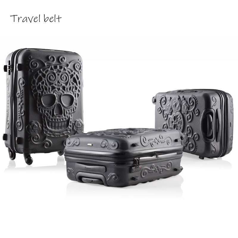 Three pieces for sale together 19/24/28 Inch Rolling Luggage Spinner brand Travel Suitcase Big golden tooth skull-in Rolling Luggage from Luggage & Bags    1