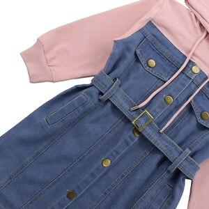 Image 4 - Dresses For Girls 2020 Spring Denim Patchwork Dress Hooded Girl Full Sleeve Party Dress Teenage Girls Clothing 6 8 10 12 13 Year