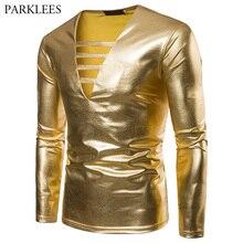 Oro brillante metálico recubierto manga larga T-shirt hombres 2018 moda Sexy Bandage Deep V cuello club nocturno camiseta hombres Streetwear tops