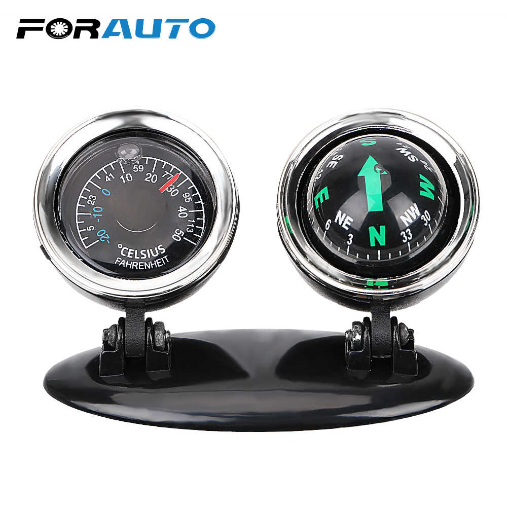FORAUTO 2 in 1 Car Ornaments Compass Thermometer Guide Ball Direction Dashboard Ball Vehicle Automotive Accessories Car-styling