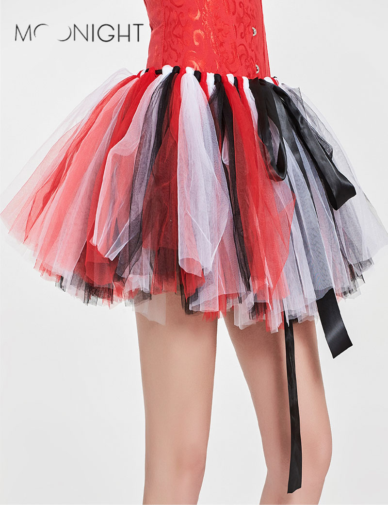 MOONIGHT New Fashion Layered Tulle Skirts Womens High Waist Chiffon Skirt Female Mini Tutu Skirts