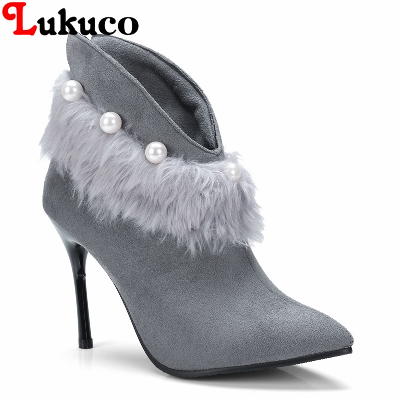 2018 elegant lady ankle boots large CN size 36 37 38 39 40 41 42 43 string bead design women Boots real pictures free shipping