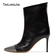 Factory Supply Pointed Toe High Heel Ankle Boots Women Crystal Heeled Autumn Shoes Ladies Black Booties Slip on Stilettos 2018 цена 2017