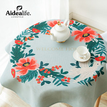Retro Europe Jacquard Waterproof Green Round Tablecloth 180 200 Cm  Wholesale Fabric Tablecloths Elegant Wedding Chair