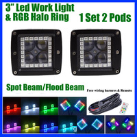 Pack 2 4D Lens 40W Led Work Light Bar 3 Pod Cubes with RGB Halo Ring Multi color Change Chasing & wiring Harness kit RF Remote