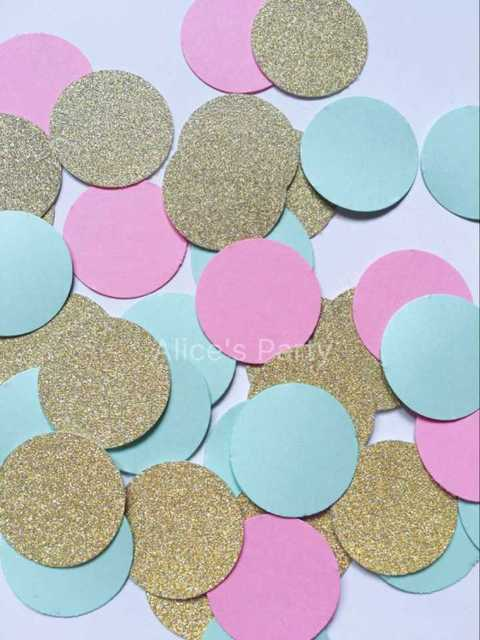 Hand punched Gold Pink Blue Circle Round Wedding Confetti Table Setting  Scatter Baby shower Party Decorations Birthday Confetti 34bc12dff142
