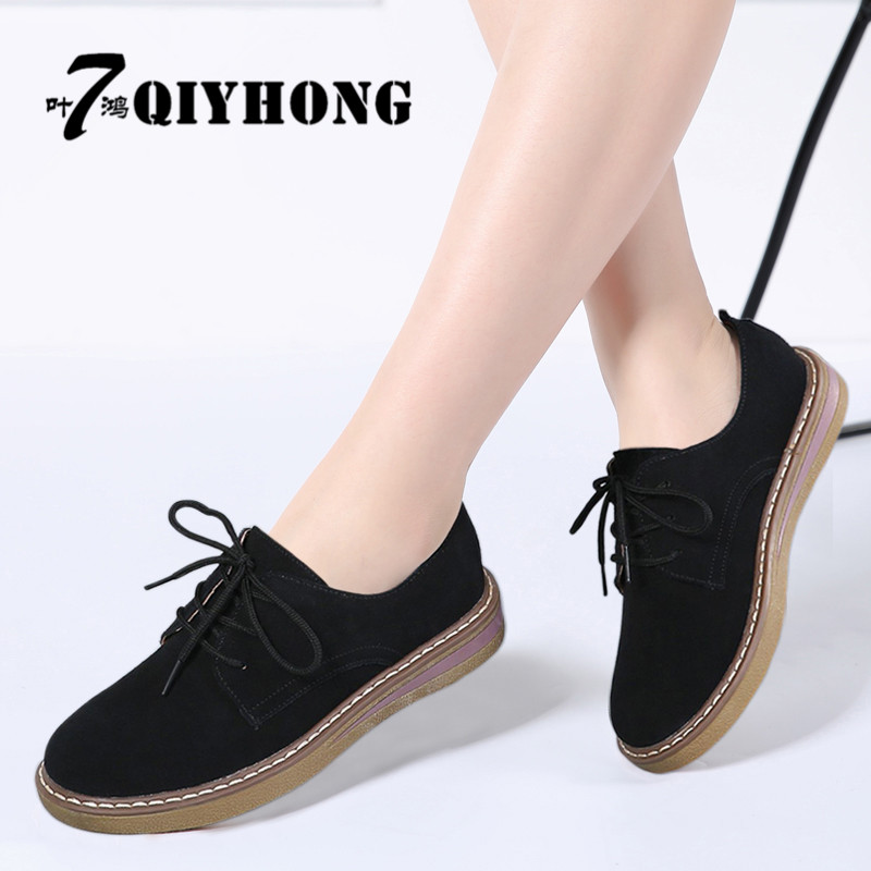 2018 Summer Women mobile Oxford Shoes Flats Shoes Women   Leather     Suede   Lace Up Boat Shoes Round Toe Flats Moccasins 989