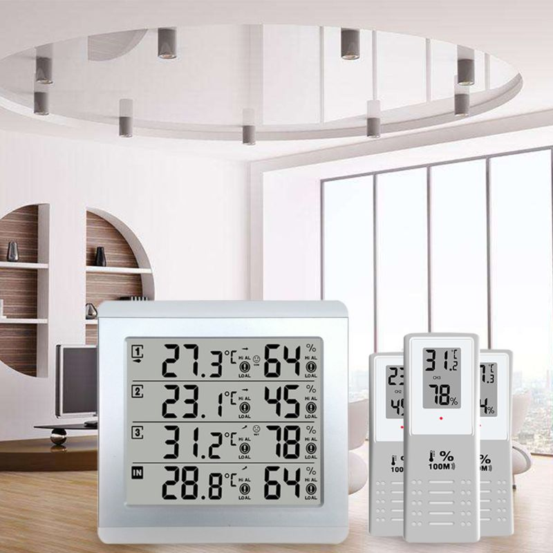 LCD Digital Wireless Indoor/Outdoor Thermometer Hygrometer Four-channel Temperature Humidity Meter Weather Station Clock wireless weather station digital color lcd thermometer forecaster clock indoor outdoor humidity meter with remote sensor 50% off