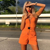 Liva Strappy Summer Women Overalls Casual Romper Jumpsuit Front Zipper Shorts Summer Cargo Pants Jumpsuit Female Orange Playsuit