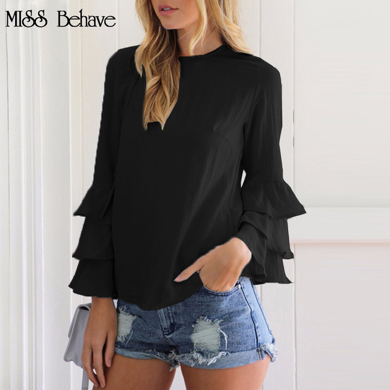 hot sales Chiffon woman polyester blouses sleeve neck button 017 Autumn Elegant O Neck Solid blusas