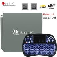 Beelink AP34 N3450 Mini PC טלוויזיה בתיבת אינטל אפולו 4 גרם/64 גרם BT 4.0 Wifi USB 3.0 2.4 + 5.8 גרם 4 K 1000 M Lan Micorsoft Windows 10 Set למעלה תיבת
