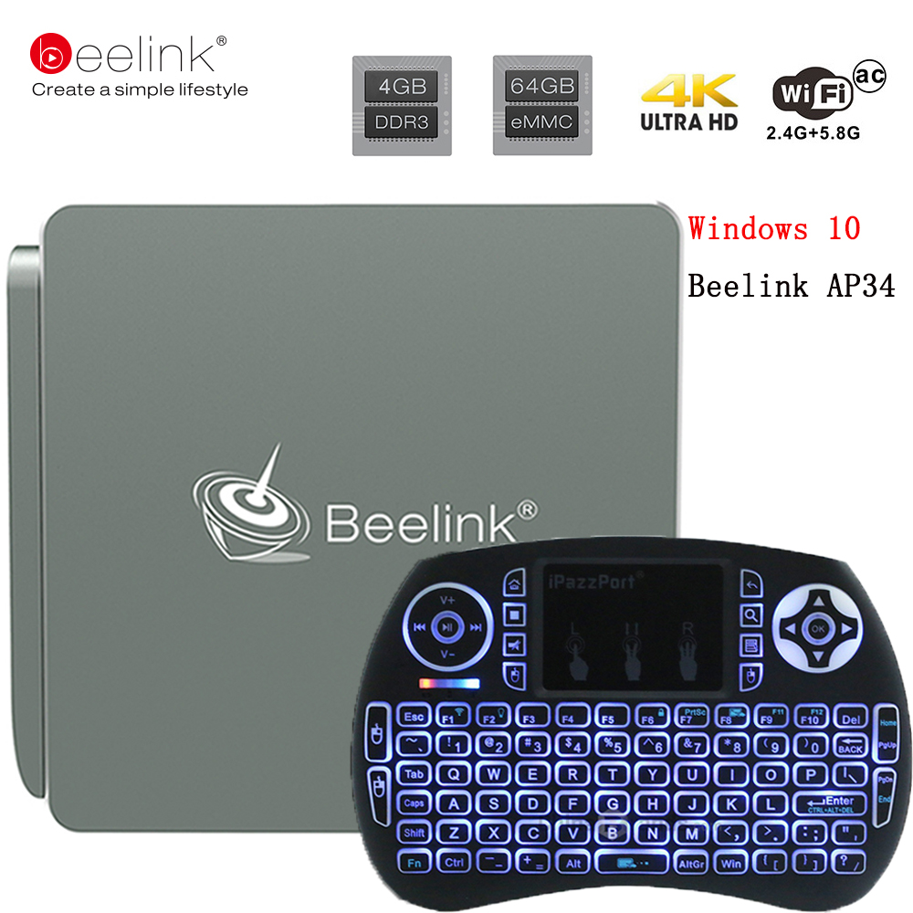 Beelink AP34 TV Box Intel Apollo N3450 Mini PC 4G/64G BT 4.0 USB 3.0 2.4+5.8G Wifi 4K 1000M Lan Micorsoft Windows 10 Set Top Box 1piece bben mn11 windows 10 os z8350 cpu intel mini pc tv dongle stick usb3 0 2 0 wifi bt4 0 computer 2g 32g ram 4g 64g emmc rom