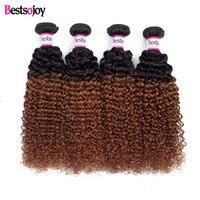Bestsojoy Brazilian Kinky Curly Hair Virgin Human Hair Weave Bundles 1B/30 Color Can Order 1/3/4 Bundles Curly Hair Extensions