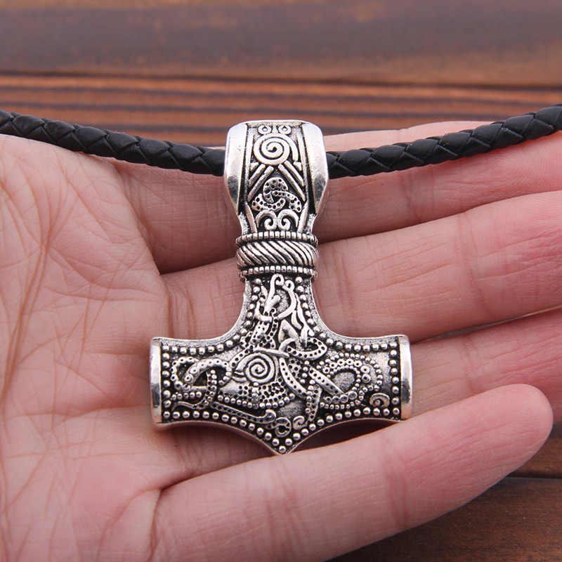 1 pc 45*35mm duże Norse Viking młot thora Mjolnir wisiorek naszyjnik