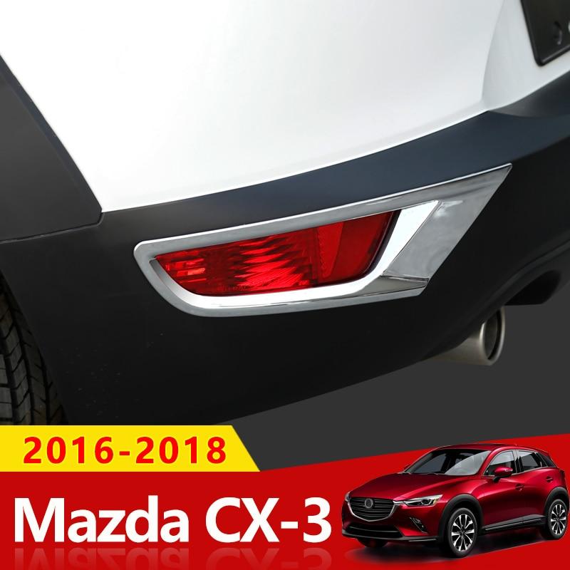 ABS Chrome Rear Fog Light Lamp Cover Trim 2pcs For Mazda CX-3 2015-2018