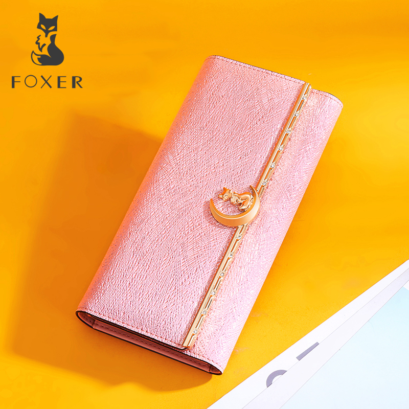 FOXER Brand Women Leather Long Wallet Female Fashion Purse Cellphone Bag Classic Wallets for Women High Quality Purse For Girl enopella women wallet brand long wallet women dollar price leather purse high quality wallets brands purse female bag
