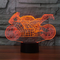 AUCD Mini Remote Motorcycle Colorful Sport Patterns Acrylic Touch Table Lights Bar Art Decor 3D Visual