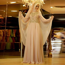 Long Sleeve Elegant Prom Dresses 2017 Hijab Evening Dresses Beaded Lace High Neck Vestidos Para Festa Wedding Party Dresses