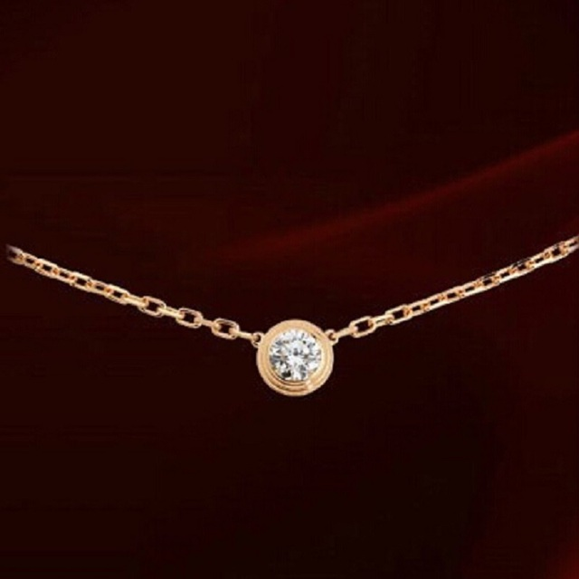 Womens delicate chain necklace collarbone plated K rose gold
