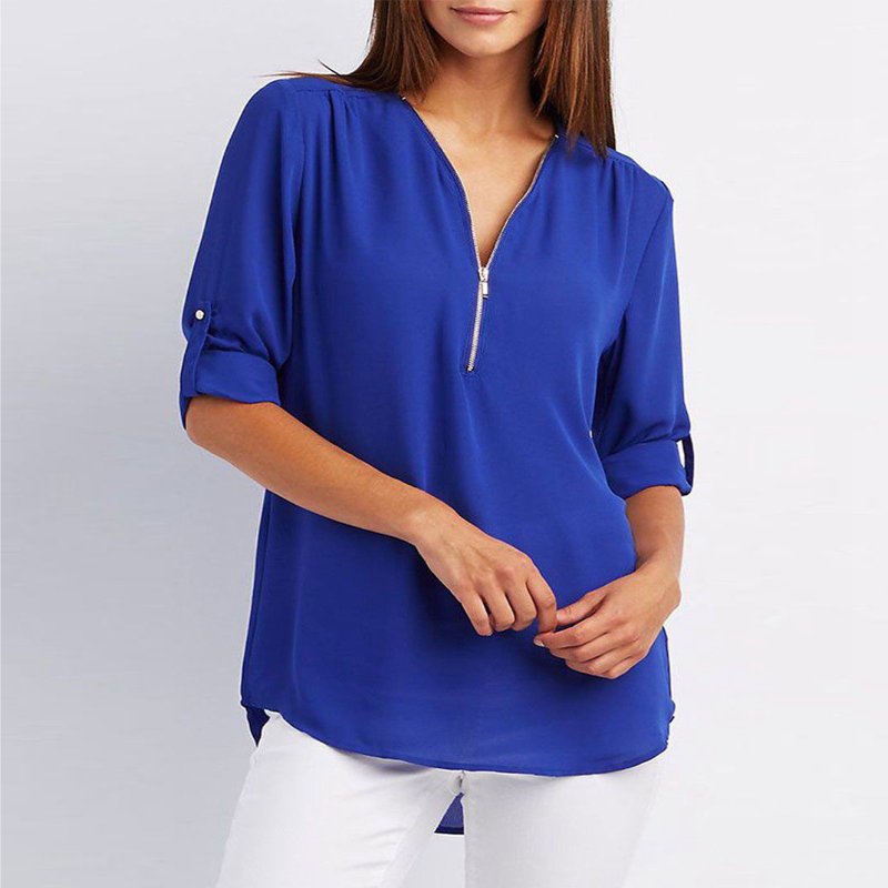 66f61be087a Color: White,Black,Pink,Royal blue,Peacock blue,Grey,Army green. Size:  S,M,L,XL,2XL,3XL,4XL,5XL Package include:1*Woman Half Sleeve Chiffon Blouse
