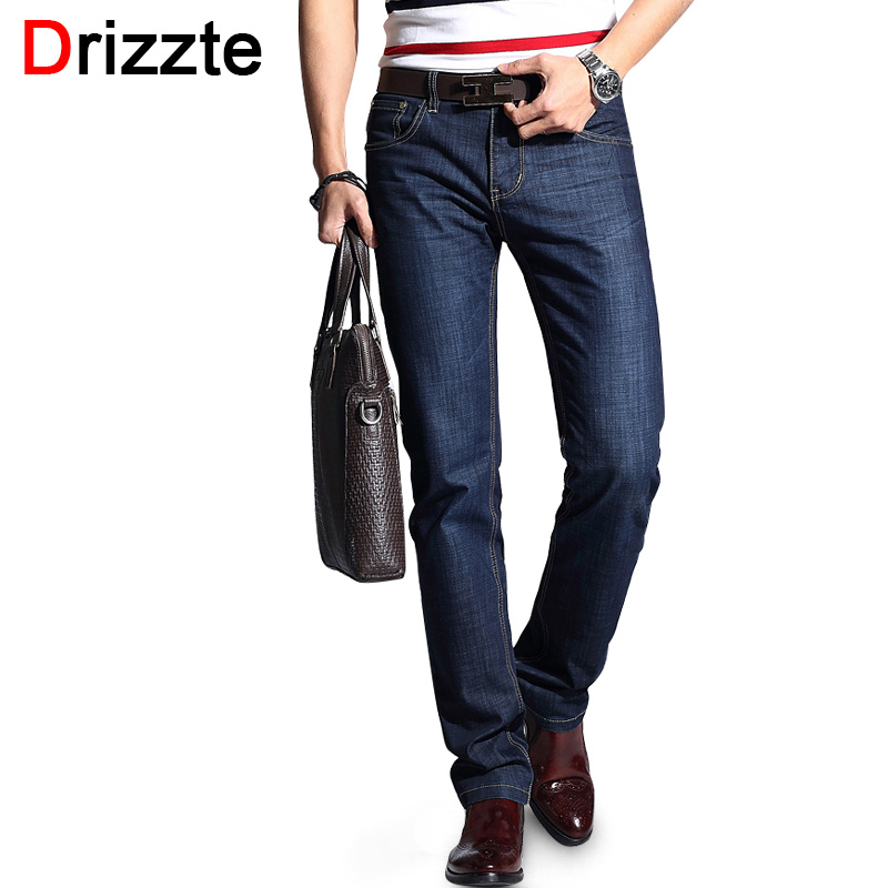 Drizzte Brand Mens Summer Stretch Thin Denim Slim Business Jeans for Work Trendy Man Jean Trousers Pants Size 28 -40  for Men new printing jeans men s slim feet pants korean flower pants nightclubs hairdressers thin style summer mens trousers size 28 38