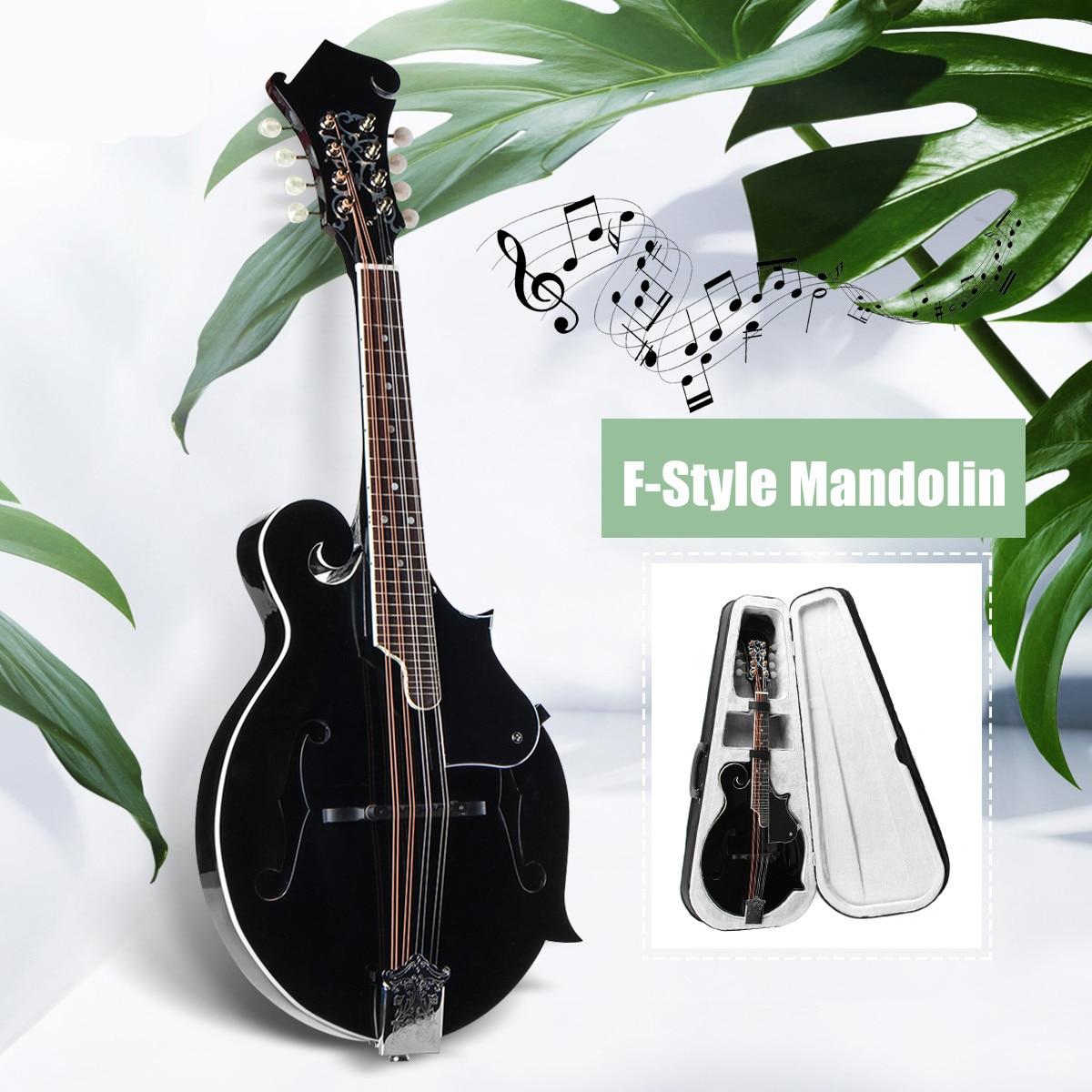 SENRHY F Stile 8 Corde Nero Mandolino Con Corda di Acciaio In Legno di Palissandro Ponte Regolabile Strumento di Musica Con Il Sacchetto E 2 Picks