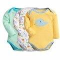 Розничная 3 шт./лот мультяшном стиле девочка мальчик зимней одежды тело ребенка Ropa Bebe следующего ребенка комбинезон дети пижамы Supercolor