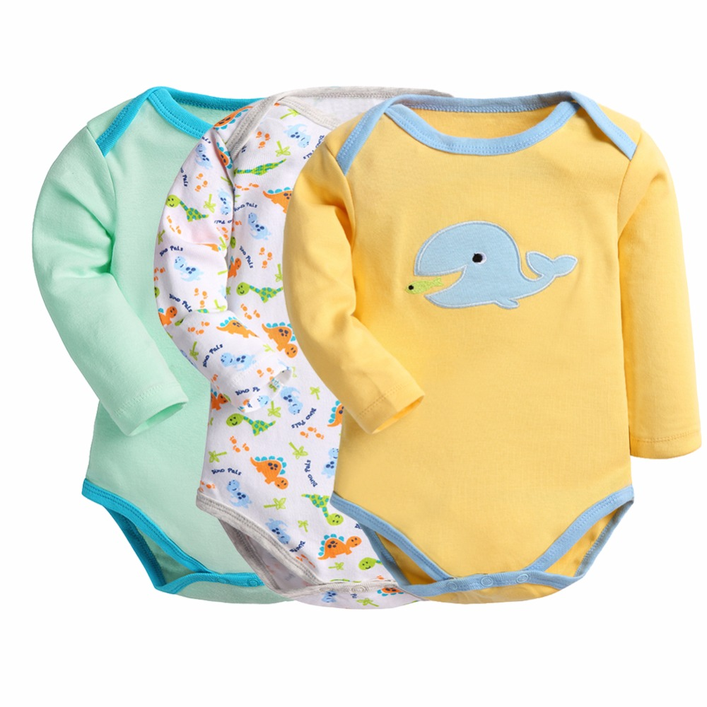 Retail 3 Pieces/lot Baby Bodysuits Cartoon Style Pajama Baby Bodysuits Girl Boy Winter Clothes Body Baby Ropa Bebe  Supercolor
