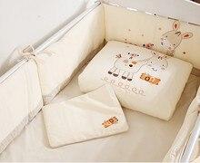 Promotion! 7PCS embroidered Baby Crib Bedding Set For Girl Boys Bumper Set Kids Baby Cot Bumper ,(2bumper+duvet+sheet+pillow)