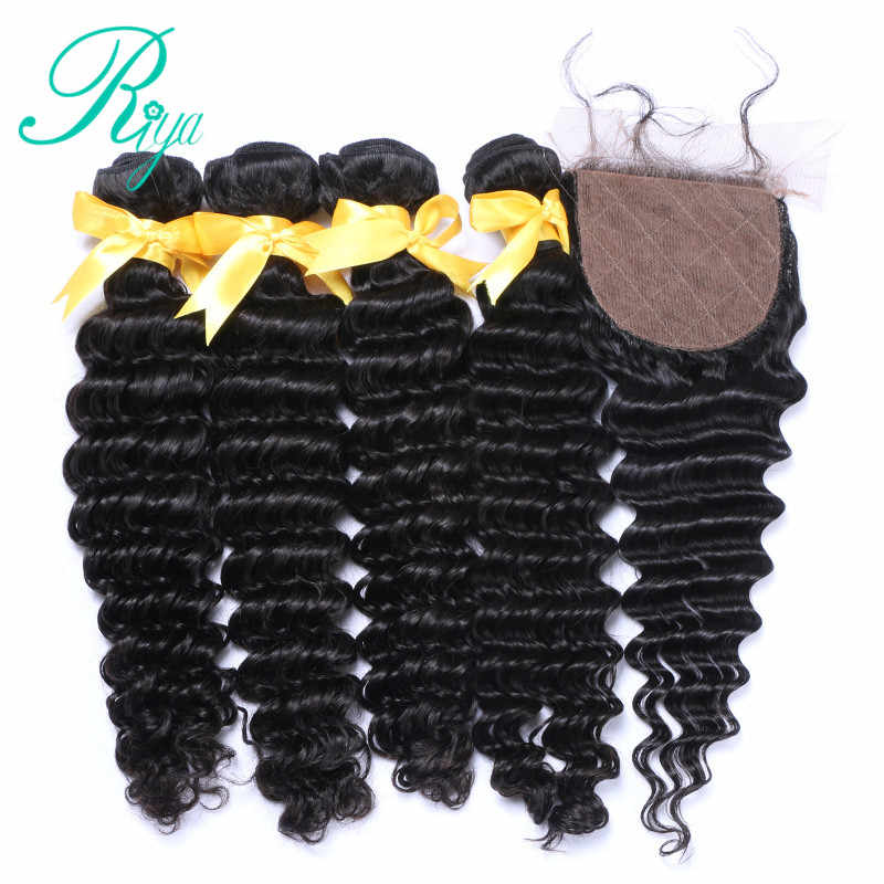 Riya Hair Brazilian Human Hair Deep Wave Hair 3 / 4 Wave bundles with 4*4 Silk Base lace Closure Remy Hair Extension