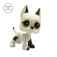pet shop lps toys white dog figure with yellow eyes GREAT DANE 750 lovely kids gift