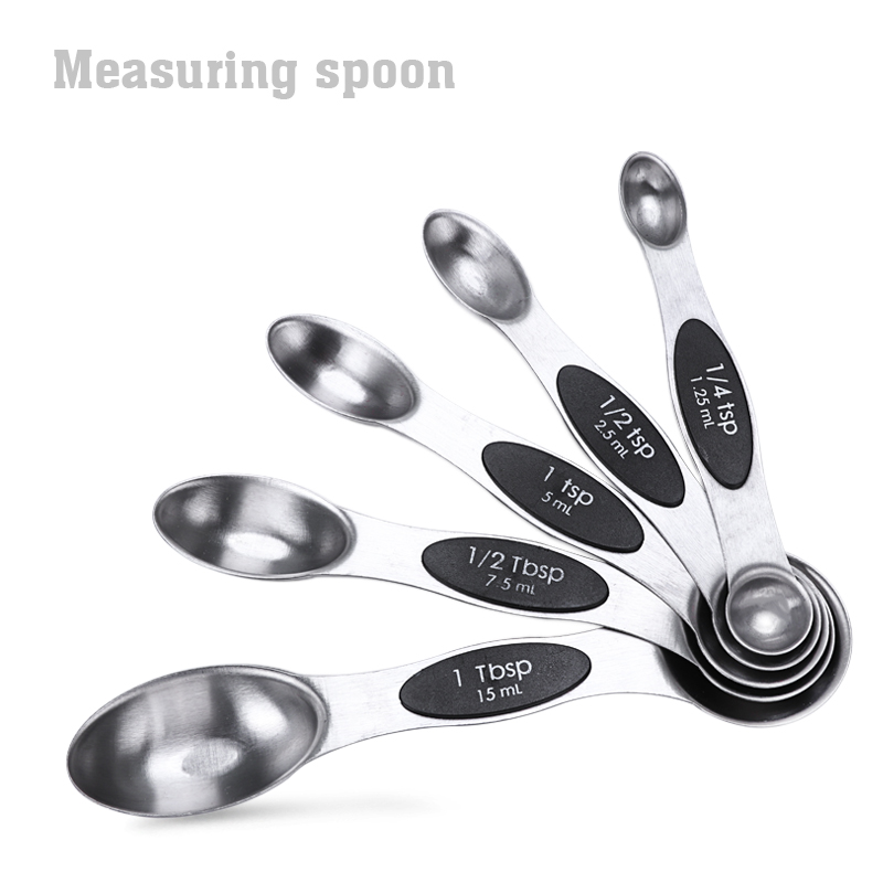 magnetic measuing spoons stainless steel set of 5 for measuring dry and liquid ingredient for home and kitchen scale accessoire ...