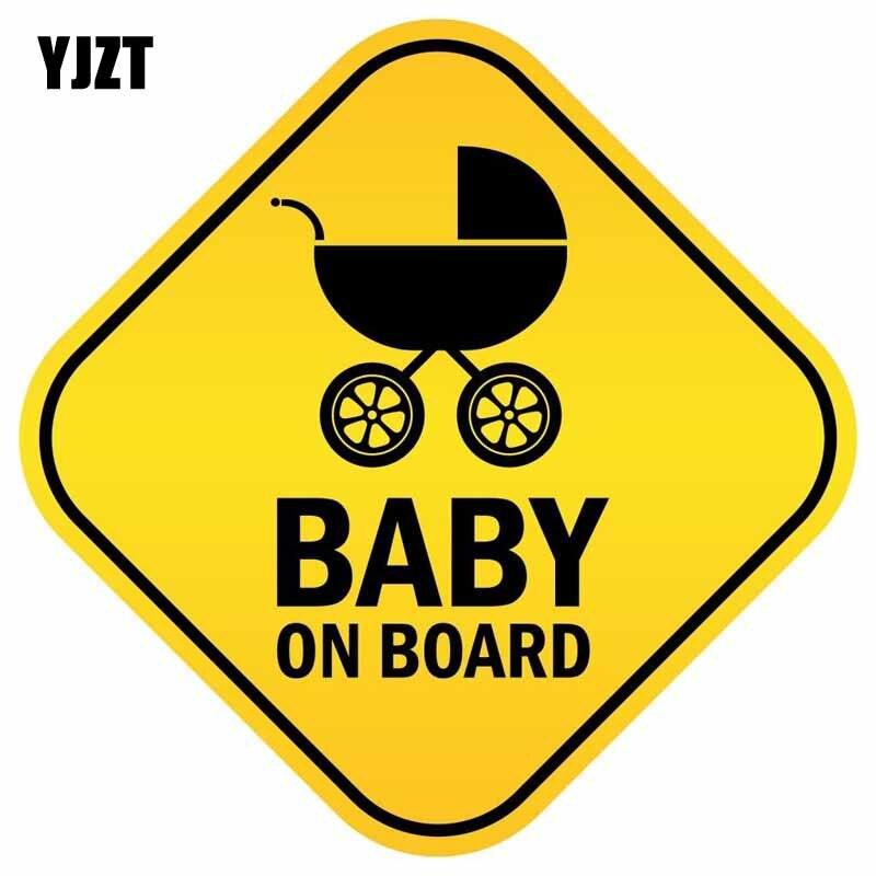 YJZT 7.6CM*7.6CM Baby Sar BABY ON BOARD Warning Mark Car Styling Reflective Car Sticker Motorcycle Parts C1- 7349 arrow pattern car body reflective warming mark sticker golden red silver 10 pcs