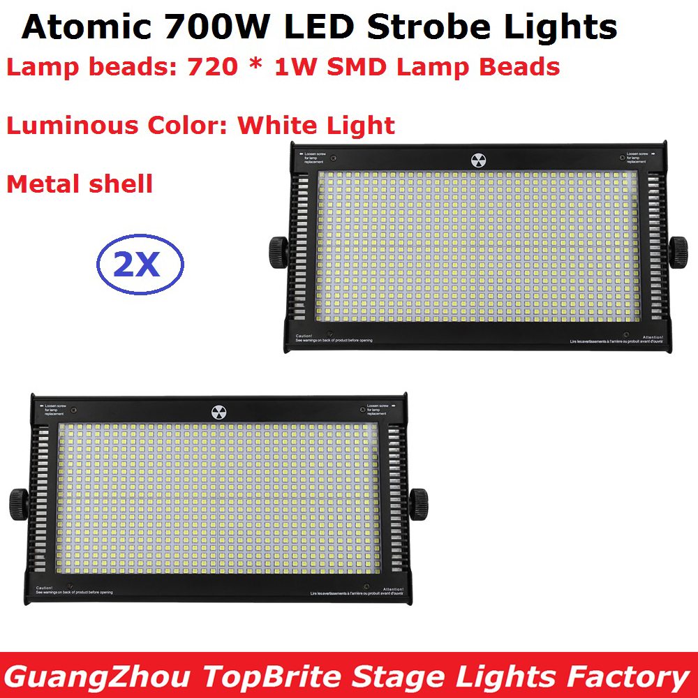 Big Discount 2XLot ATOMIC 700 Watt White Color LED Strobe Lightz 110-220V Professional Stage Strobe Light With 8 DMX Channel atomic absorption spectrophotometer atomic fluorescence spectrometer light source 1 2 type cu copper hollow cathode lampa1272