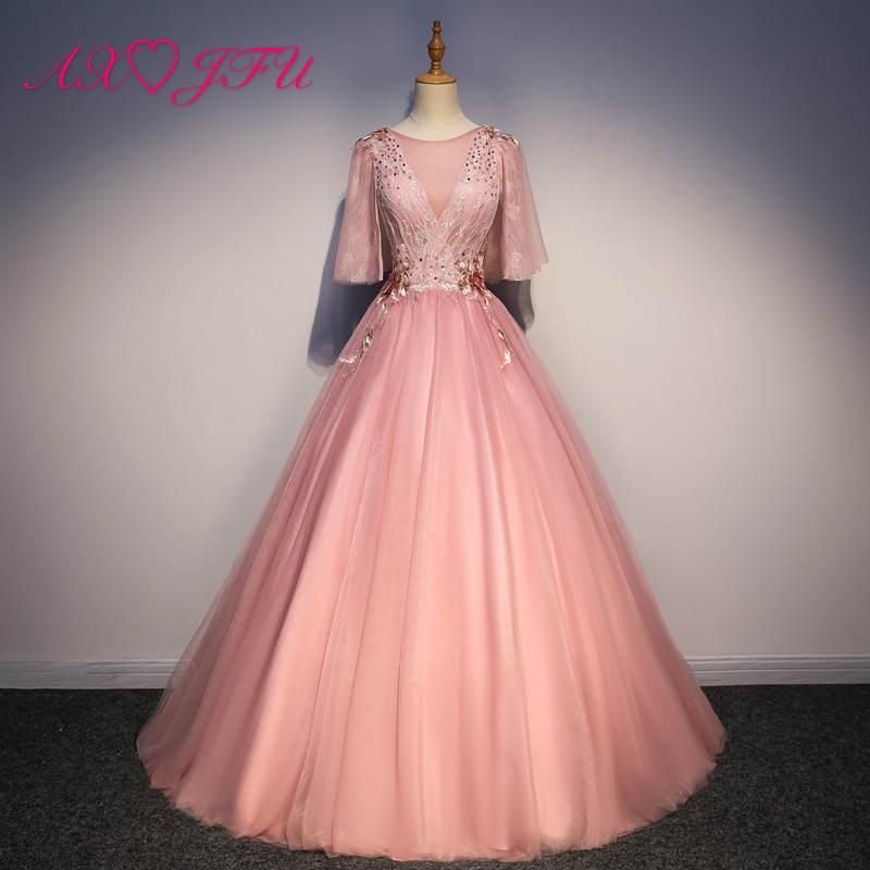 AXJFU princess pink lace flower   evening     dress   vintage stage o neck beading embroidery flower crystal ruffles pink   evening     dress