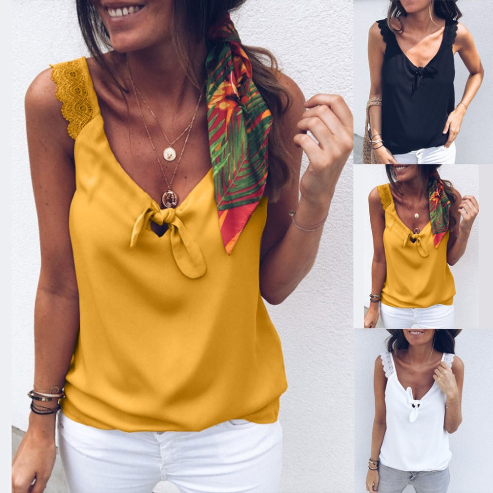 6abef211ef8ac Women Top Lace Up Casual Bow Tie Sexy Female T-shirt Summer Sleeveless Tank  Top