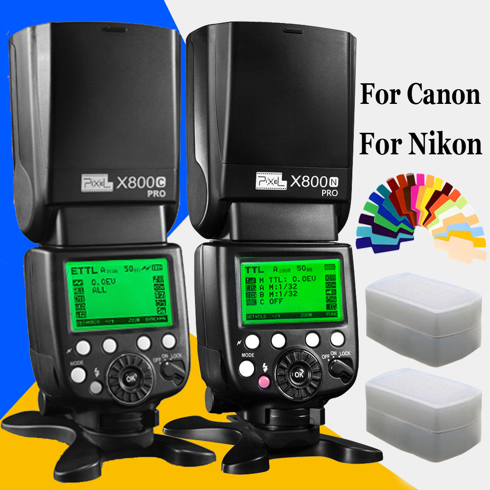 Professional Speedlite Pixel X800C X800N PRO 2.4G Radio LCD Display Wireless TTL HSS Flash Speedlight Flashgun For Canon Nikon genuine meike mk950 flash speedlite speedlight w 2 0 lcd display for canon dslr 4xaa