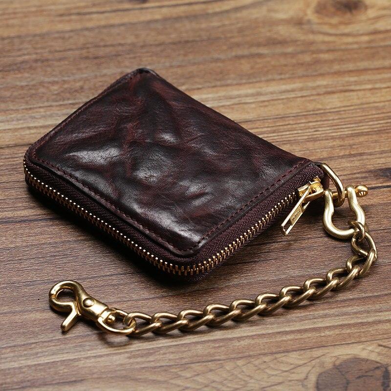 Vintage Genuine Leather Wallet Men Purse Leather Men Wallet Short style Clutch Bag Male Coin bag Money Clips Chain W6016 men business real cowhide leather three style money bag wallet