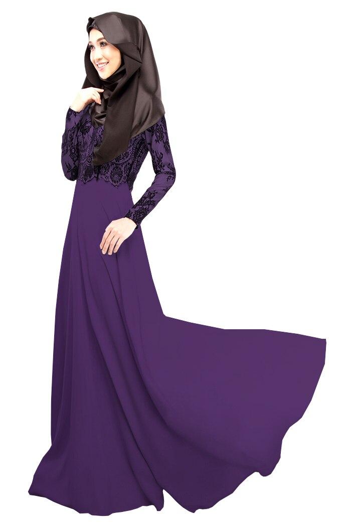 Mode dentelle musulmane Abaya dubaï caftan à manches longues automne robes arabes pour les femmes ANN22
