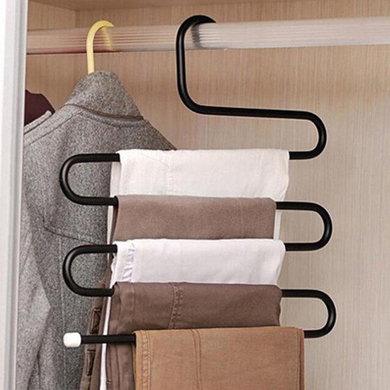 New S Shape Hangers Pants Multi-role Magic Pants Wearing Clothes Rack Multilayer White&Black 8 pcs space saver wonder magic clothes hangers closet organizer hooks racks new