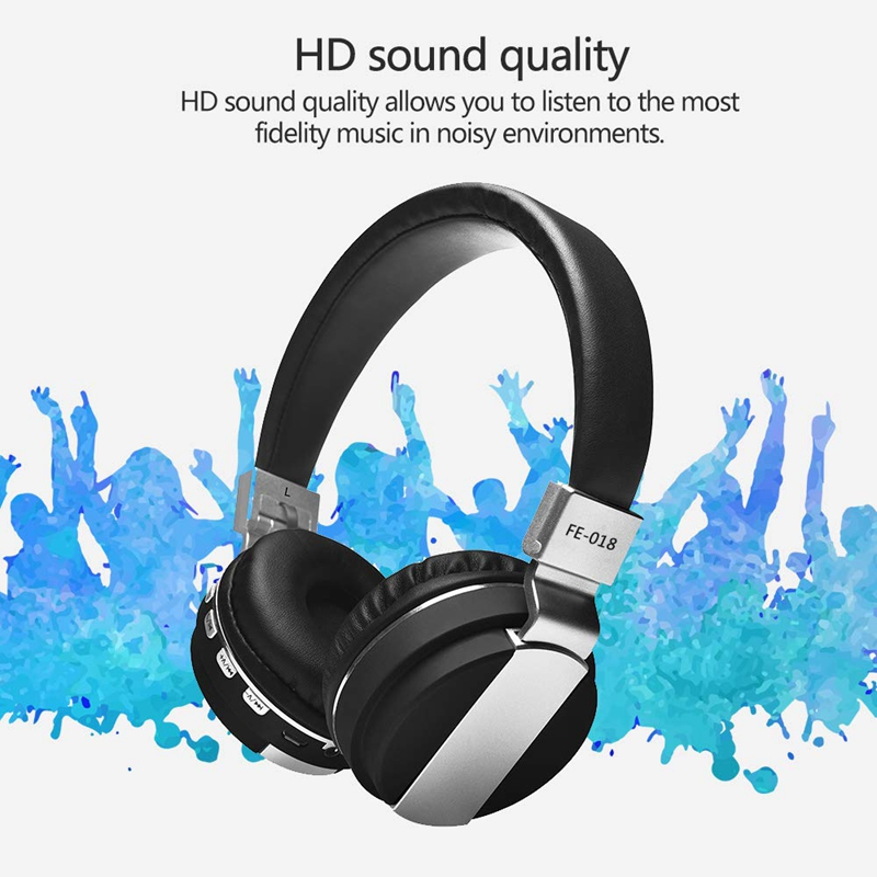 ABSQ Fe-018 Foldable Wireless Bluetooth Headphones Wired Headset Headband Earphone With Mic Support Fm Radio Micro-Sd Tf Card