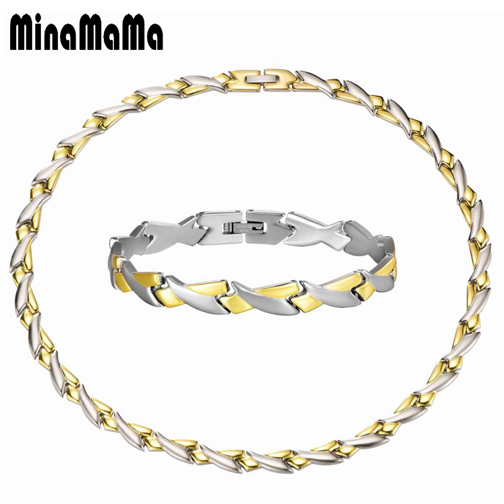 Men's Jewelry Gold Silver Color Personality Chunky Chain Stainless Steel Jewelry Sets For Women Male Necklace & Bracelet