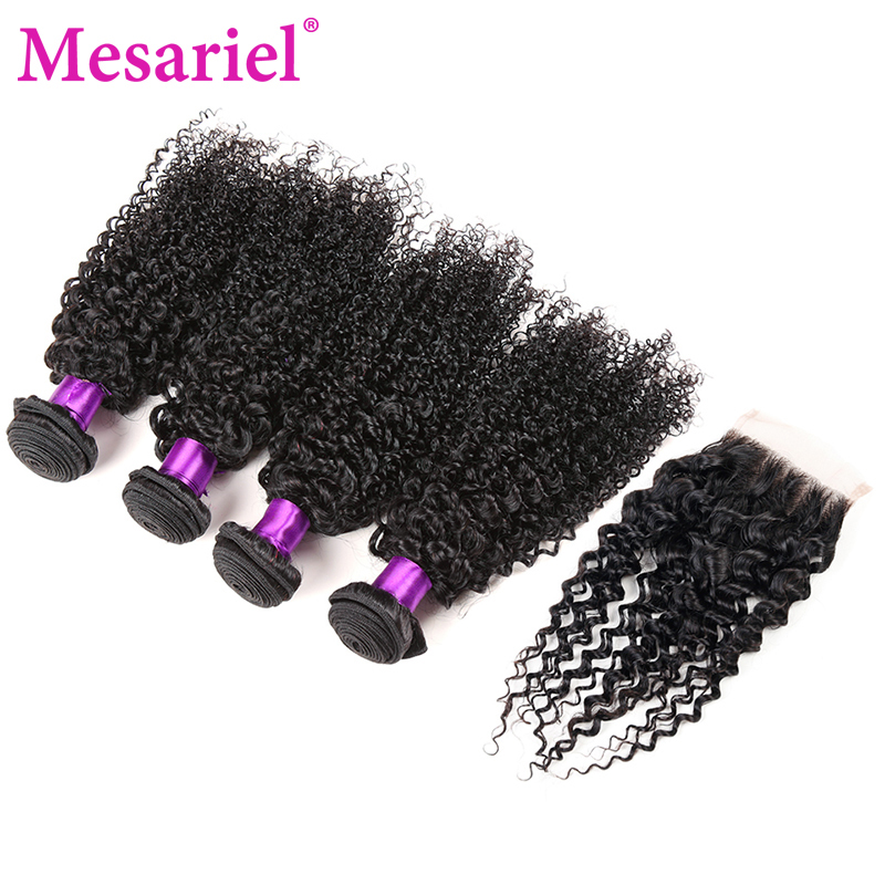 Mesariel Kinky Curly Weave Human Hair Bundles with Closure Non-remy Peruvian Hair Weave 4 Bundles with Free Part Closure