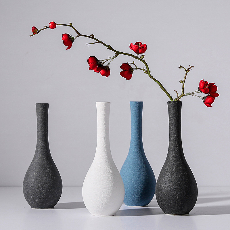 white blue black gray 3colors European modern frosted ceramic vases flower receptacle tabletop Vase home ornaments furnishing in Vases from Home Garden