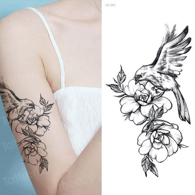 Tatoo Fake Sketch Flower Tattoo Black Bird Sketches Tattoo Designs Peony Rose Geometric Triangle Tattoo Sexy Girls Body Stickers Temporary Tattoos Aliexpress
