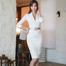 5c60728740a Elegant Women Korean OL Work Dress 2019 New Fashion Notched Collar 3 4  Sleeve Buttons