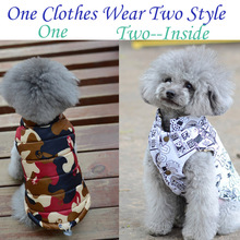 2016 Winter Pet dog Clothes for small medium dog Good pet clothing Coat hoodies VestTwo side can be Wear