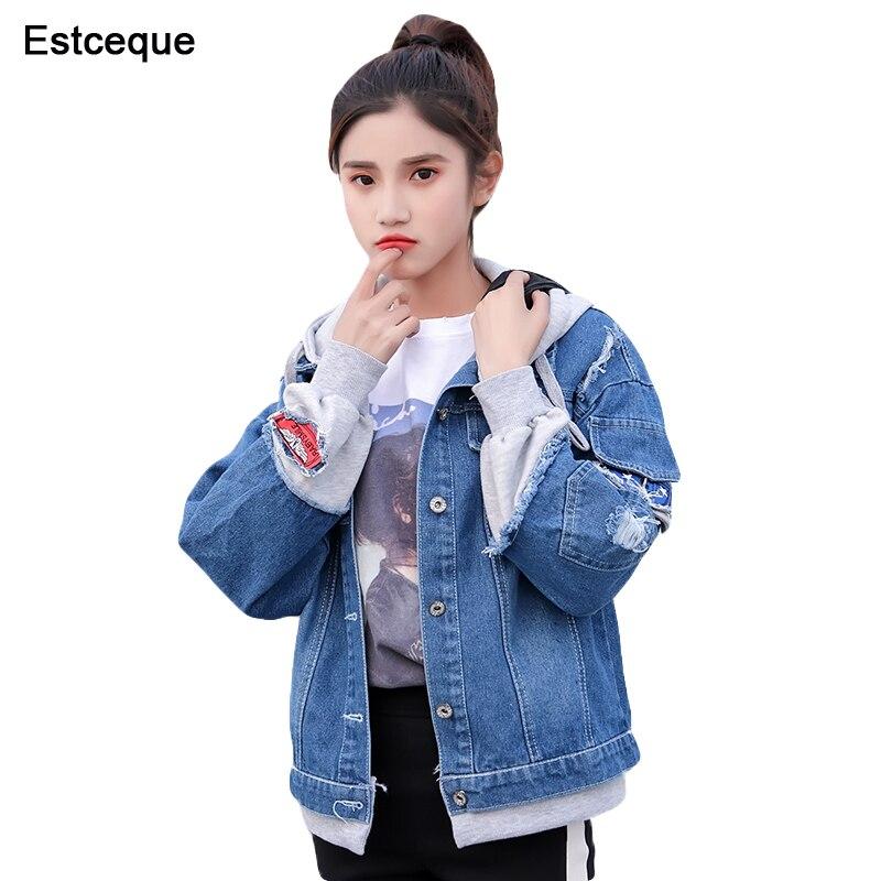 New 2018 Women Denim   Jacket   Pathchwork Loose   Basic   Baseball   Jacket   Female Hood Jeans Denim Coat Sweet Style