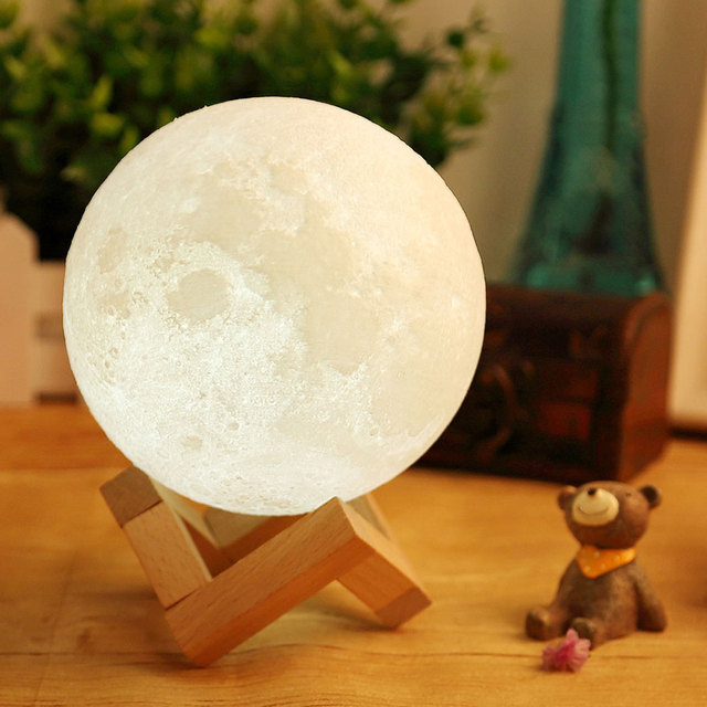 2 Color Print Moon Lamp Rechargeable Touch Switch Usb Charging Night Light Luminaria Lunar Nursery
