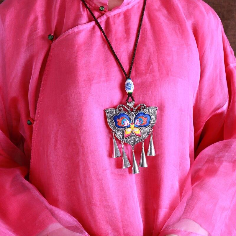 Ancien Miao traditionnel style folklorique broderie collier pendentif bijoux femmes chandail chaîne papillon en bohême du Yunnan
